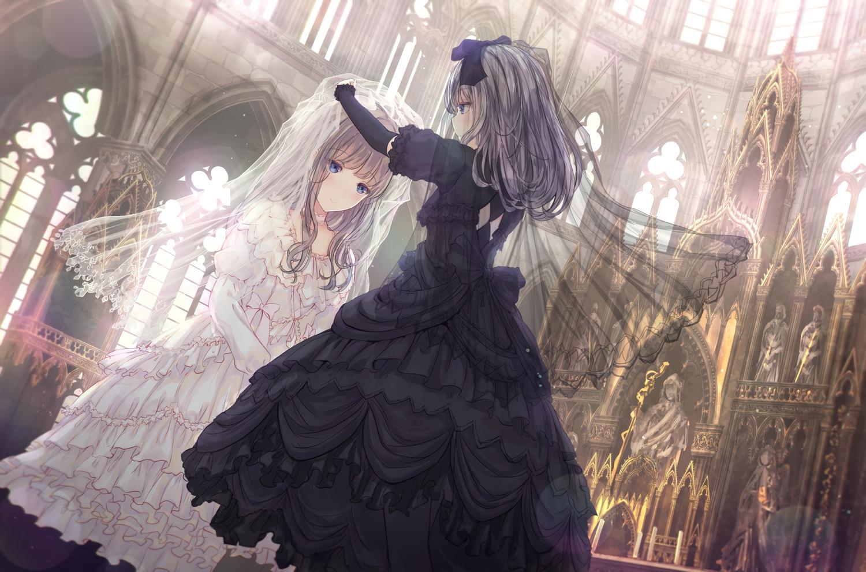 2girls apple228 blue_eyes blush brown_hair dress goth-loli gray_hair headdress lolita_fashion long_hair original shoujo_ai wedding wedding_attire