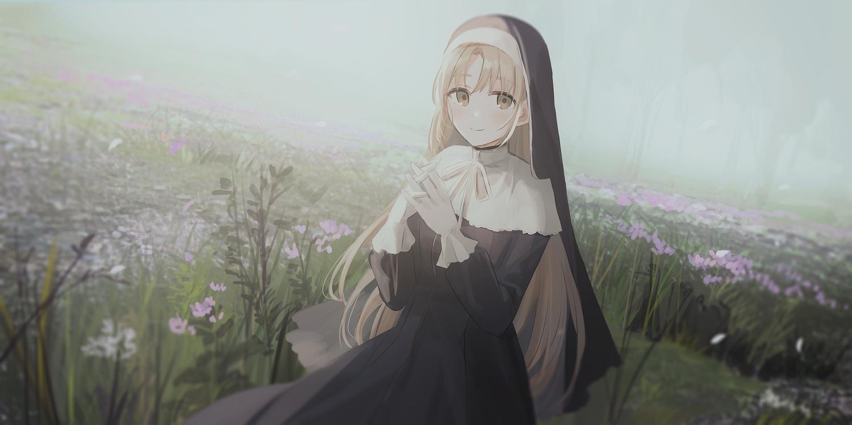blonde_hair chihuri405 flowers grass headdress long_hair nijisanji nun sister_cleaire yellow_eyes
