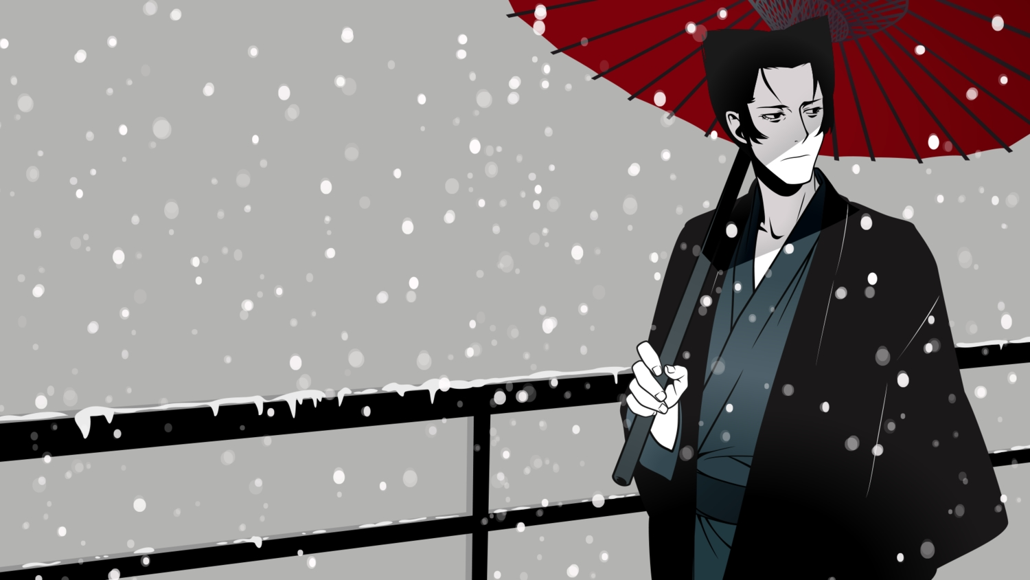 all_male bakemonogatari black_eyes black_hair kaiki_deishuu male monogatari_(series) short_hair snow umbrella vector