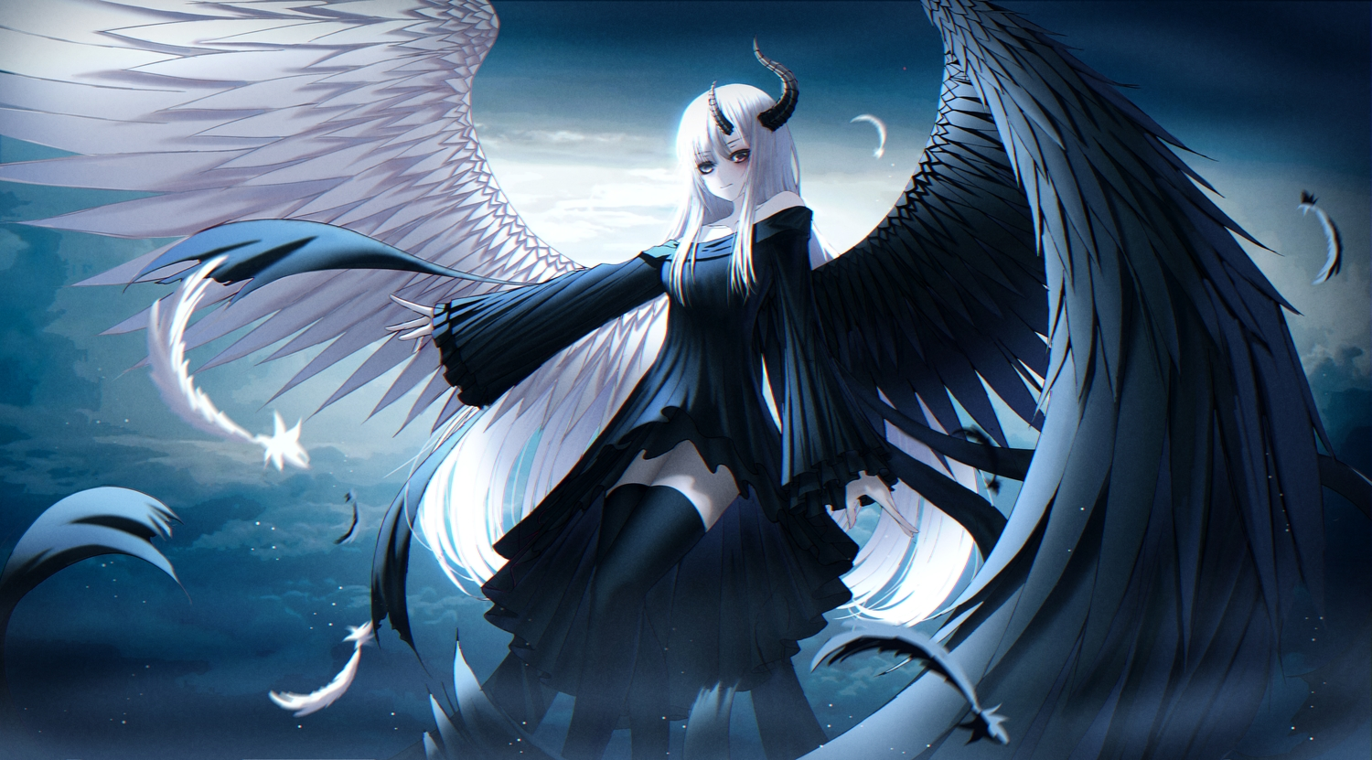 bicolored_eyes feathers gothic horns kmj8645885 long_hair original white_hair wings zettai_ryouiki