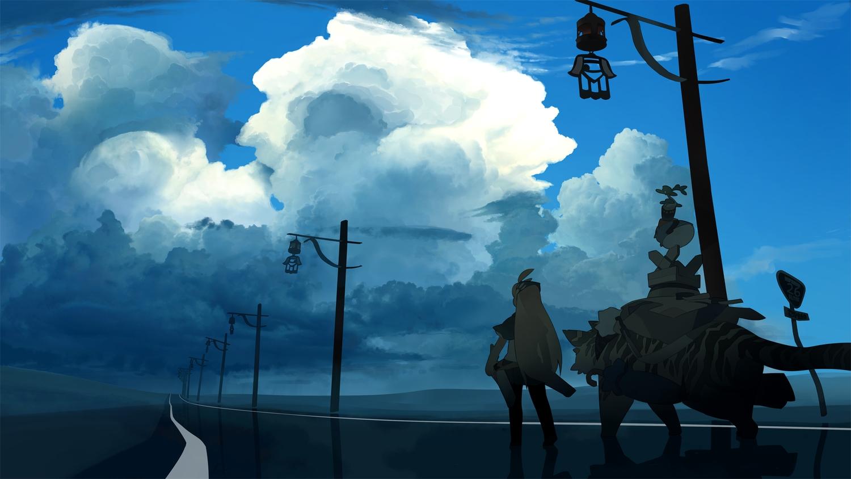 akitsu_taira animal clouds landscape original scenic school_uniform sky tiger