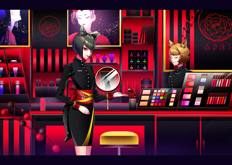 animal_ears foxgirl japanese_clothes ohagi_(ymnky) original short_hair tail uniform