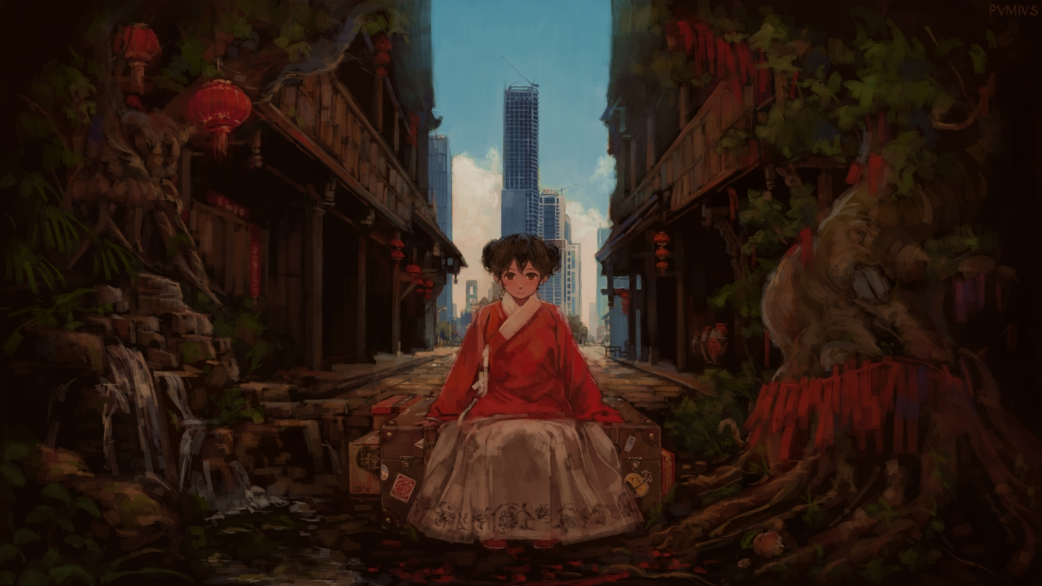 brown_eyes brown_hair building chinese_clothes city dress original pvmivs short_hair tree