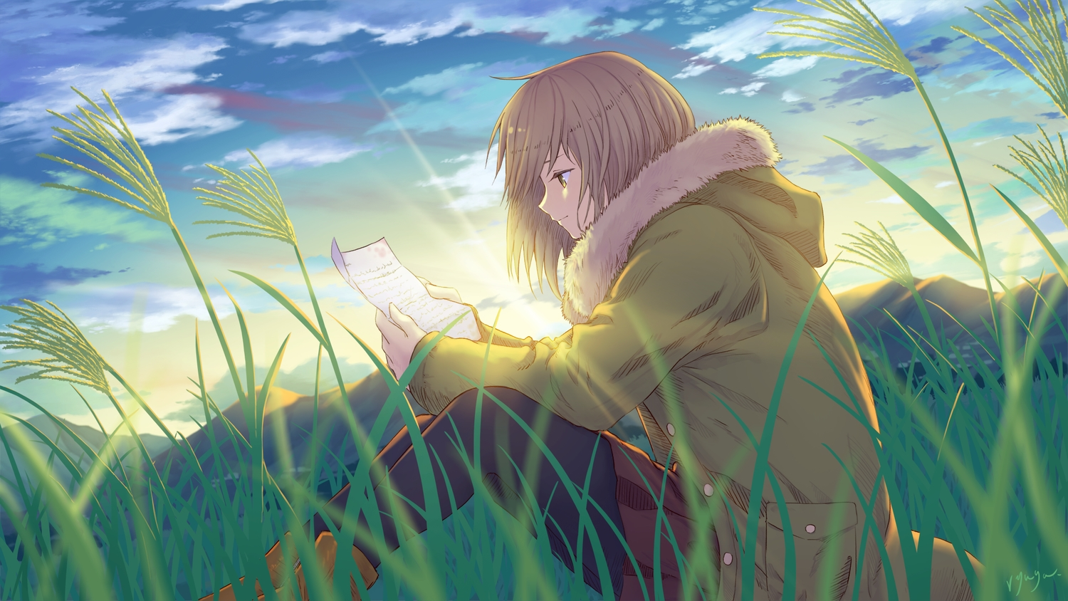 boots brown_hair clouds grass hoodie original pantyhose paper ryuga_(balius) short_hair signed skirt sky yellow_eyes