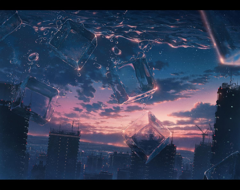 building city clouds cola_(gotouryouta) original scenic sky stars sunset underwater water