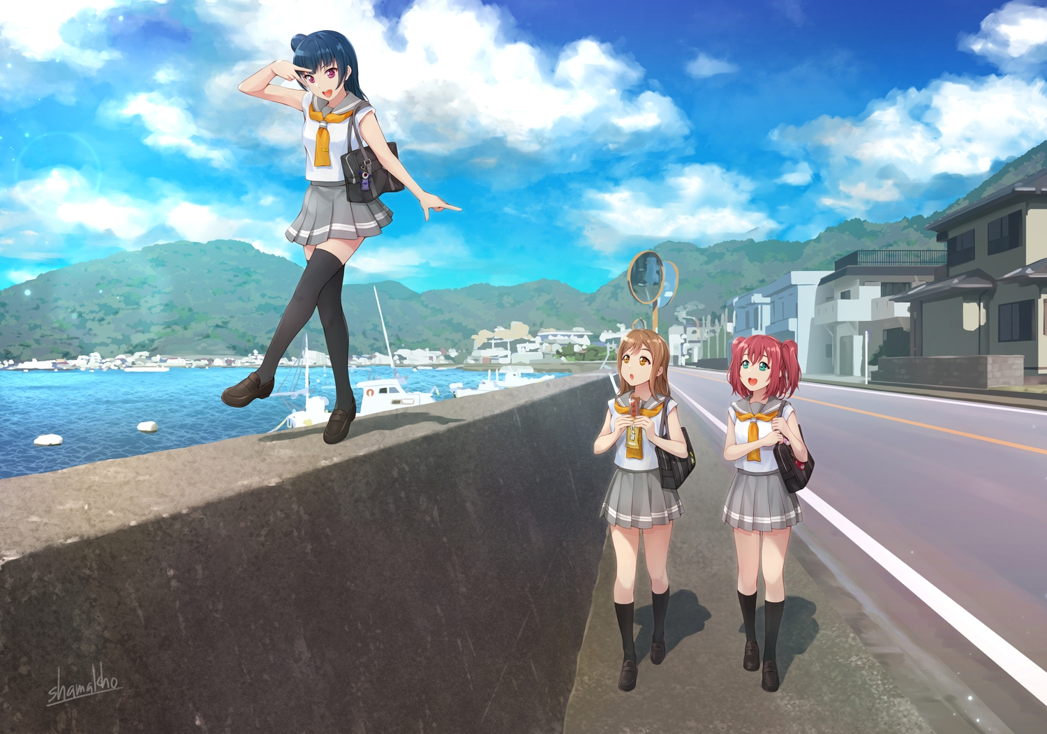 blue_hair brown_hair building city clouds food green_eyes kneehighs kunikida_hanamaru kurosawa_ruby long_hair love_live!_school_idol_project love_live!_sunshine!! orange_eyes purple_eyes red_hair school_uniform shamakho signed skirt sky thighhighs tsushima_yoshiko twintails water zettai_ryouiki