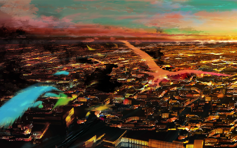 108 animal bird city clouds original scenic sky sunset