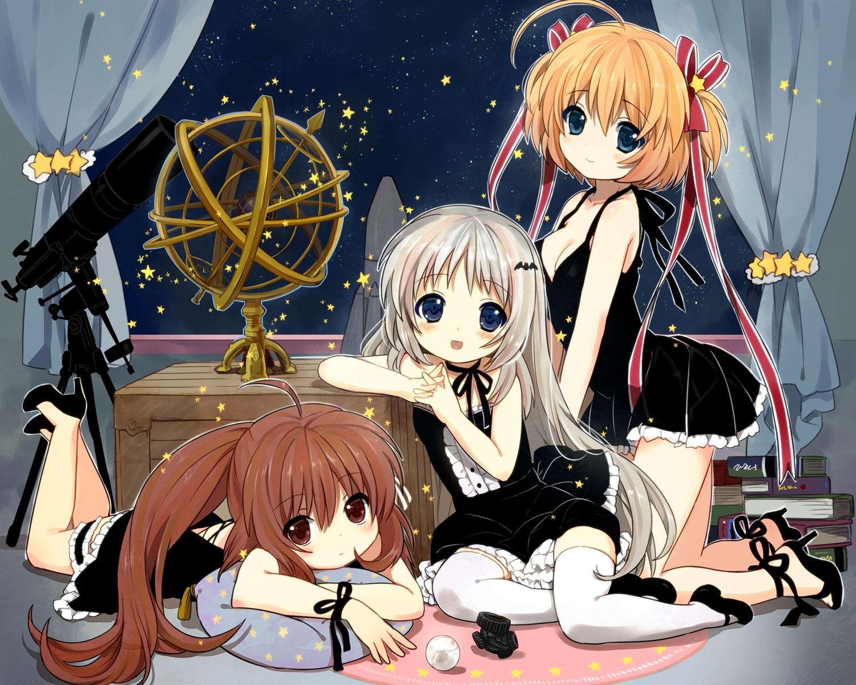 dress jamijami kamikita_komari little_busters! natsume_rin noumi_kudryavka stars thighhighs