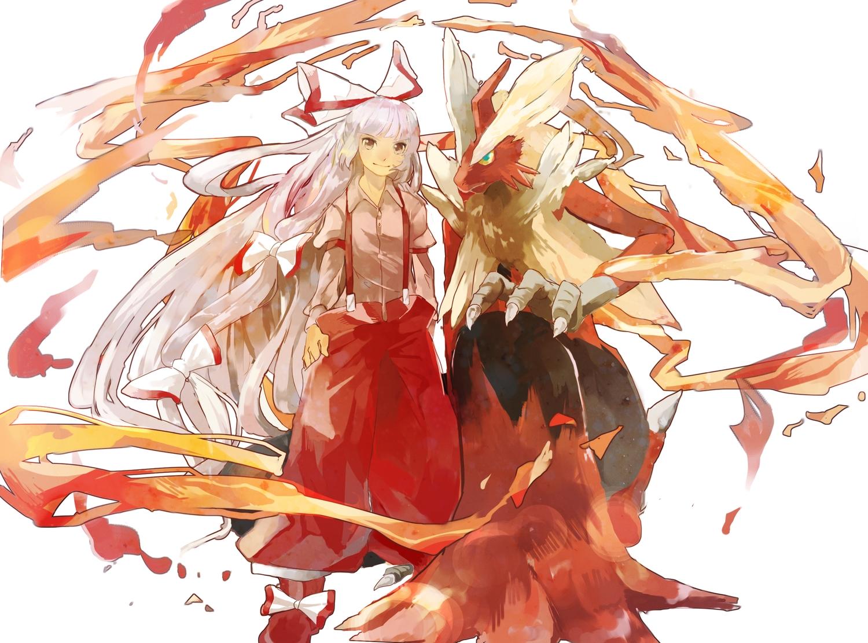 blaziken bow brown_eyes crossover fire fujiwara_no_mokou hawai-tari long_hair pokemon touhou white_hair