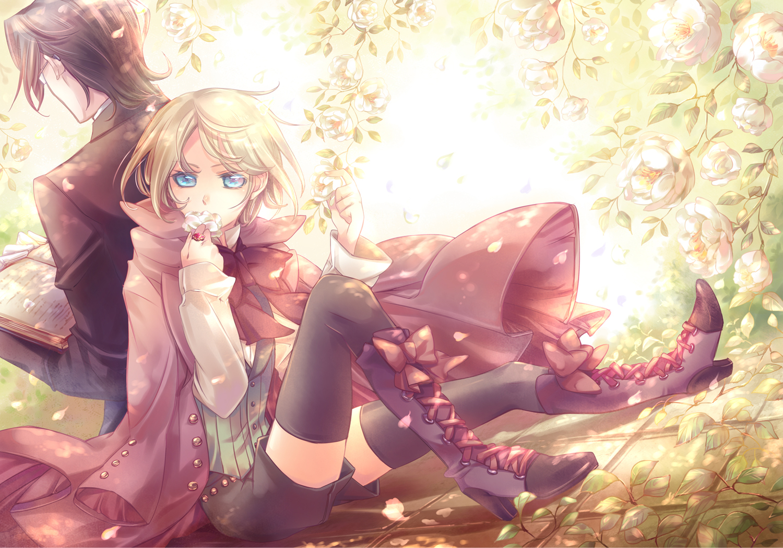 all_male alois_trancy black_hair blonde_hair blue_eyes book boots claude_faustus flowers glasses kuroshitsuji male petals thighhighs yamada_ako