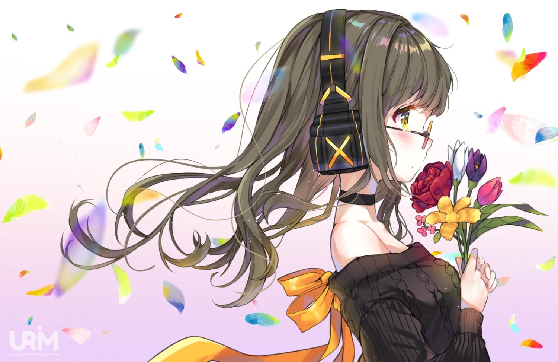 bow brown_hair choker flowers glasses headphones long_hair original petals ribbons urim_(paintur) watermark yellow_eyes
