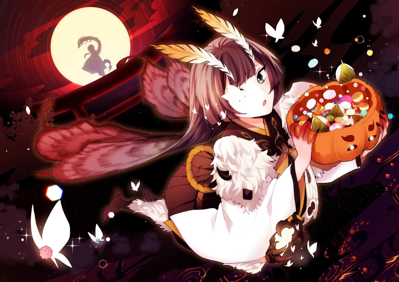 annerica brown_hair butterfly candy green_eyes halloween japanese_clothes long_hair moon mushishi_(onmyouji) night onmyouji sky torii wings