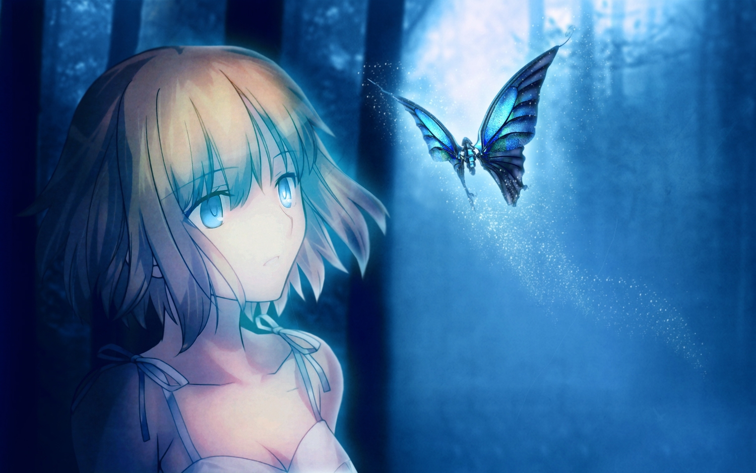 butterfly short_hair takeuchi_takashi third-party_edit tsuki_no_sango type-moon