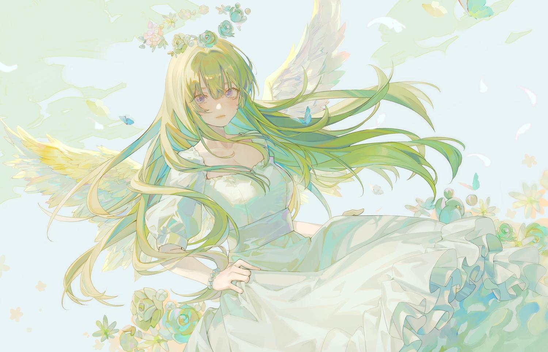 angel dress flowers green_hair halo long_hair original polychromatic rose tagme_(artist) wings