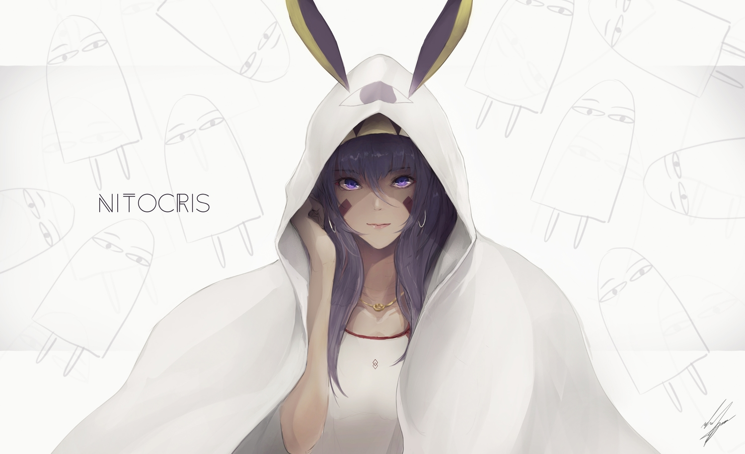 animal_ears fate/grand_order fate_(series) long_hair marumoru necklace nitocris_(fate/grand_order) purple_eyes purple_hair signed