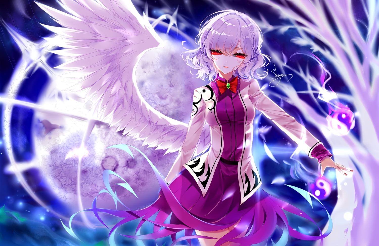 bow dress kishin_sagume magic moon night purple_hair red_eyes sheya short_hair signed touhou wings