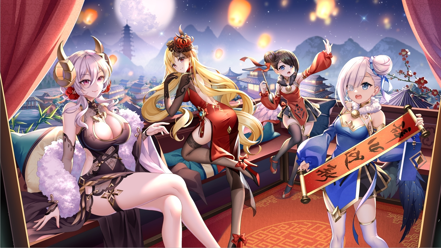 aliasing blonde_hair breasts building chinese_clothes chinese_dress cleavage dress gray_hair horns long_hair sky thighhighs yue_xiao_e zettai_ryouiki