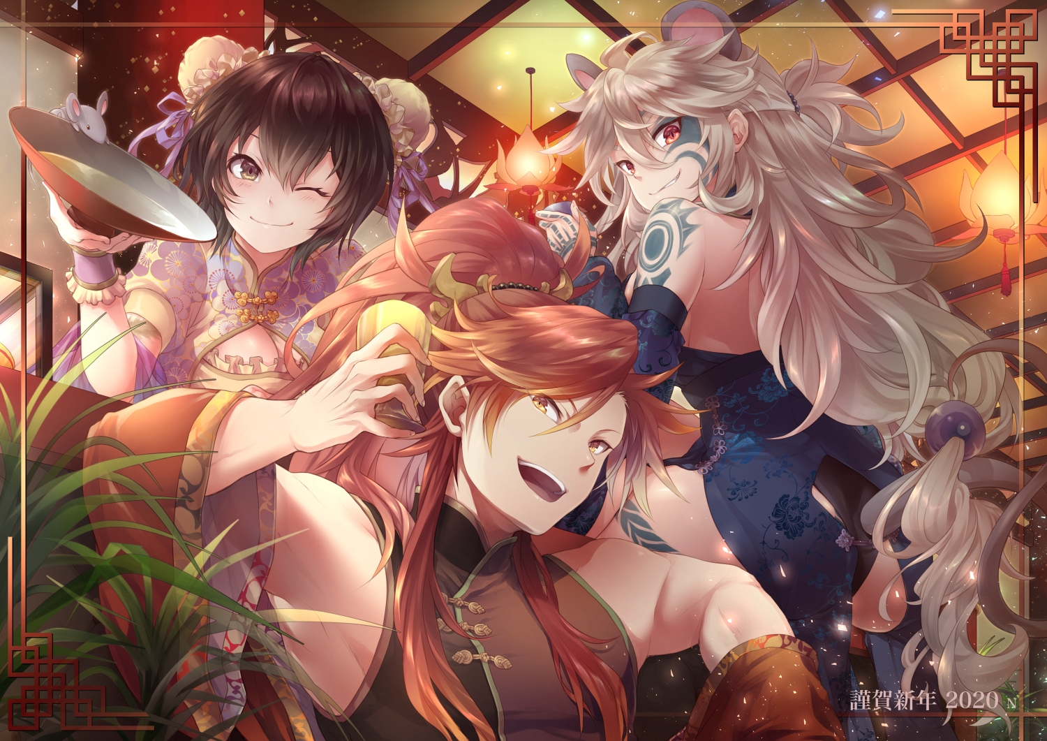 animal black_hair blush brown_eyes chinese_clothes chinese_dress dress drink gray_hair long_hair lord_of_vermilion male mouse orange_hair ponytail short_hair tagme_(character) tattoo wink wristwear yue_(pixiv2547)