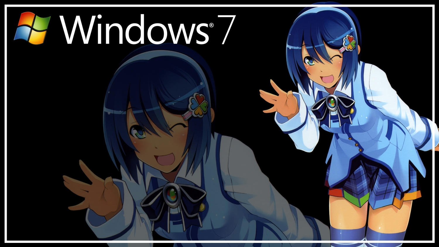 blue_eyes blue_hair bow madobe_nanami microsoft os-tan short_hair skirt thighhighs windows wink zoom_layer