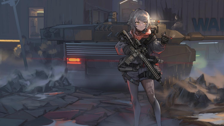 aegisfate brown_eyes cigarette combat_vehicle gloves gray_hair gun original short_hair shorts smoking weapon