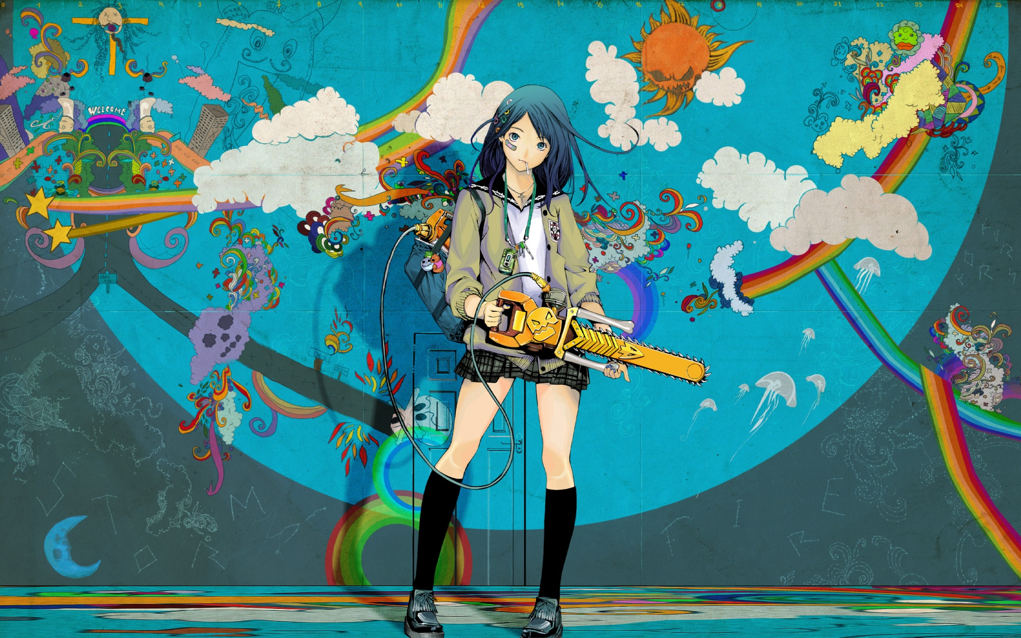 angel animal bandaid bear blue_eyes blue_hair candy chainsaw clouds cross frog graffiti halo kneehighs lollipop long_hair moon necklace oh_great phone rainbow skirt skull stars stockings weapon wings