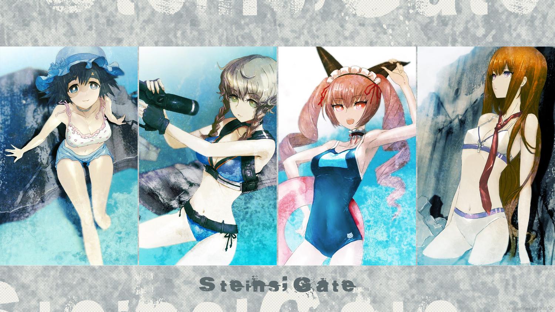 amane_suzuha bikini faris_nyannyan makise_kurisu school_swimsuit shiina_mayuri steins;gate swimsuit