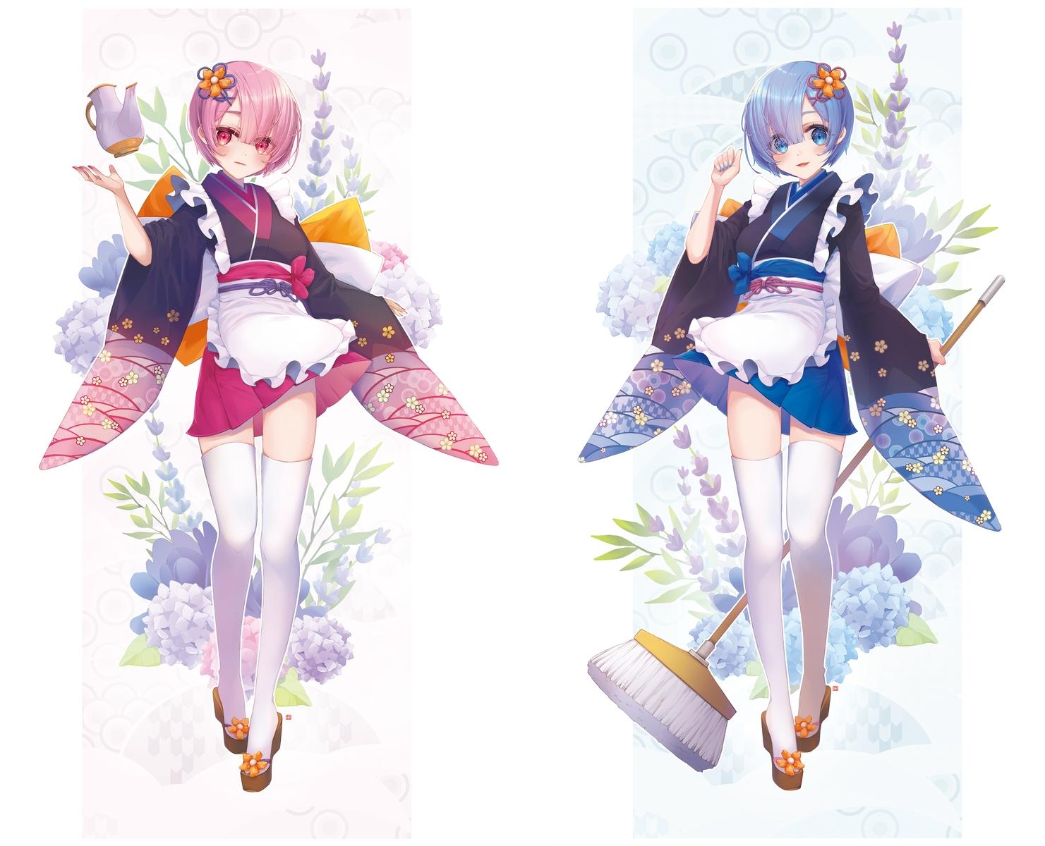 2girls apron blue_hair flowers japanese_clothes jii_dayday kimono maid pink_hair ram_(re:zero) rem_(re:zero) re:zero_kara_hajimeru_isekai_seikatsu short_hair thighhighs twins