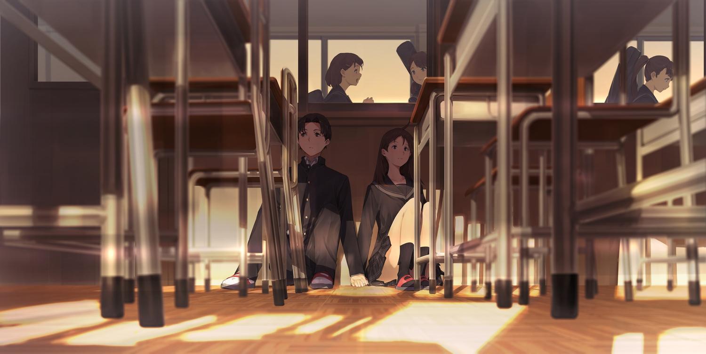 black_eyes black_hair brown_eyes brown_hair group kneehighs male original ponytail school_uniform short_hair skirt somehira_katsu