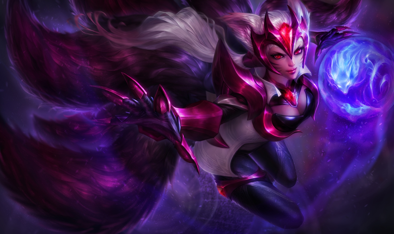 ahri_(league_of_legends) animal_ears bodysuit foxgirl league_of_legends michelle_hoefener multiple_tails red_eyes tail white_hair