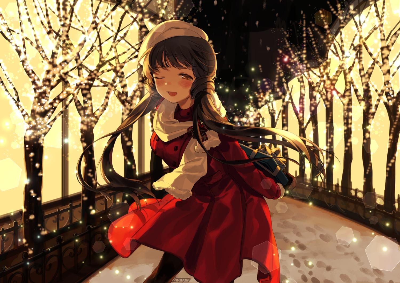 blush brown_eyes brown_hair idolmaster idolmaster_million_live! kitakami_reika long_hair nys scarf snow tree wink winter