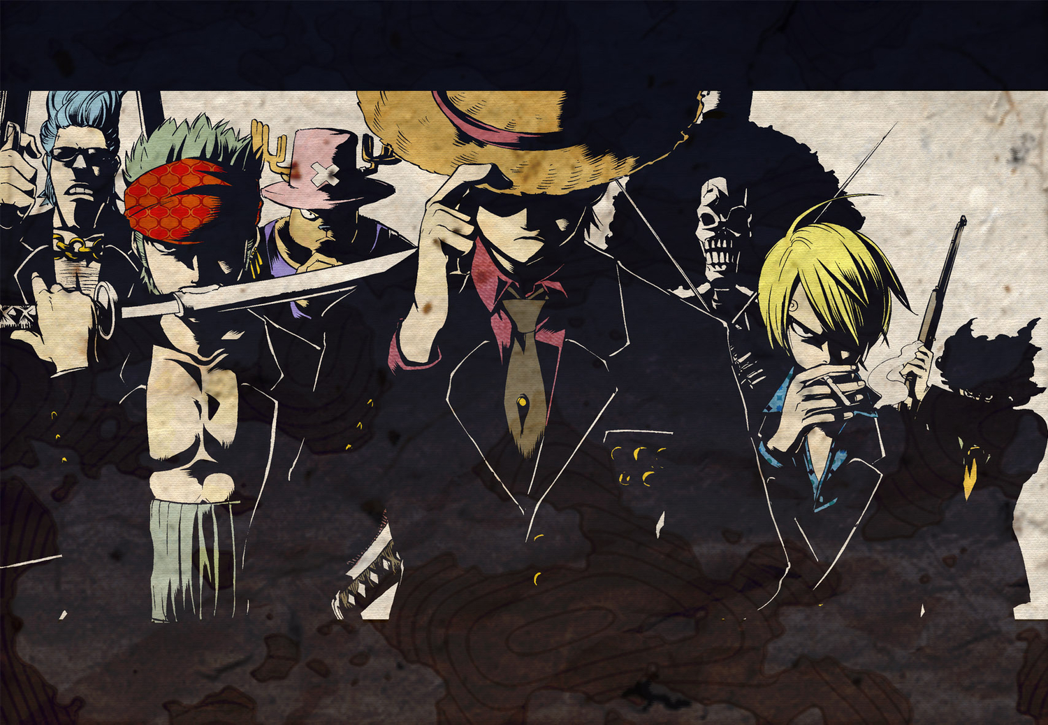 black_hair blonde_hair blue_hair brook cigarette franky group gun hat monkey_d_luffy necklace one_piece pirate roronoa_zoro sagatsune sanji short_hair skull smoking sunglasses sword tony_tony_chopper usopp weapon