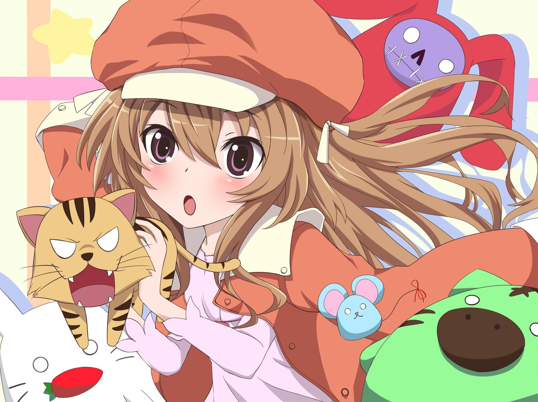 aisaka_taiga animal bakemonogatari brown_eyes brown_hair bunny cosplay doll hat kazabana_kazabana long_hair monogatari_(series) palmtop_tiger tiger toradora