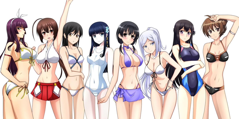 aila_jyrkiainen ashisu_sahoto ass bikini breasts buddy_complex cleavage crossover erect_nipples fairy_tail gundam_build_fighters gundam_(series) jindai_komaki kagura_mikazuchi kenken mahouka_koukou_no_rettousei mangaka-san_to_assistant-san mazinkaiser_skl mobile_suit_gundam musubi saki sekirei shiba_miyuki swimsuit underboob yumihara_hina yuuki_tsubasa