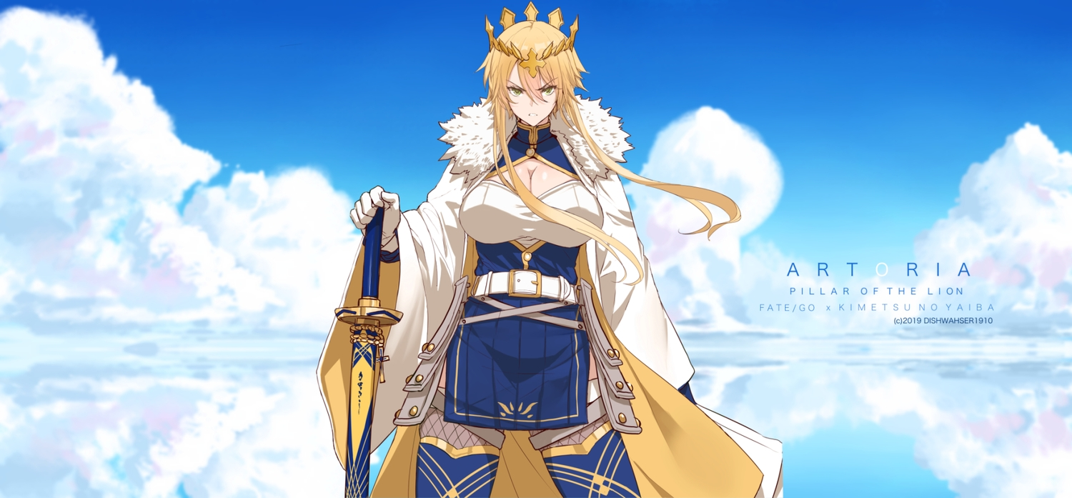 artoria_pendragon_(all) artoria_pendragon_(lancer) blonde_hair breasts cleavage clouds crown dishwasher1910 dress fate/grand_order fate_(series) gloves green_eyes long_hair reflection sky stockings sword thighhighs watermark weapon