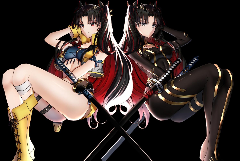 black black_eyes black_hair bodysuit boots fate/grand_order fate_(series) faton ishtar_(fate/grand_order) katana long_hair red_eyes sword weapon