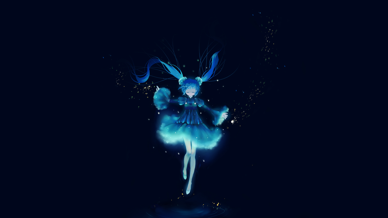 blue dress hatsune_miku tagme tagme_(artist) vocaloid water