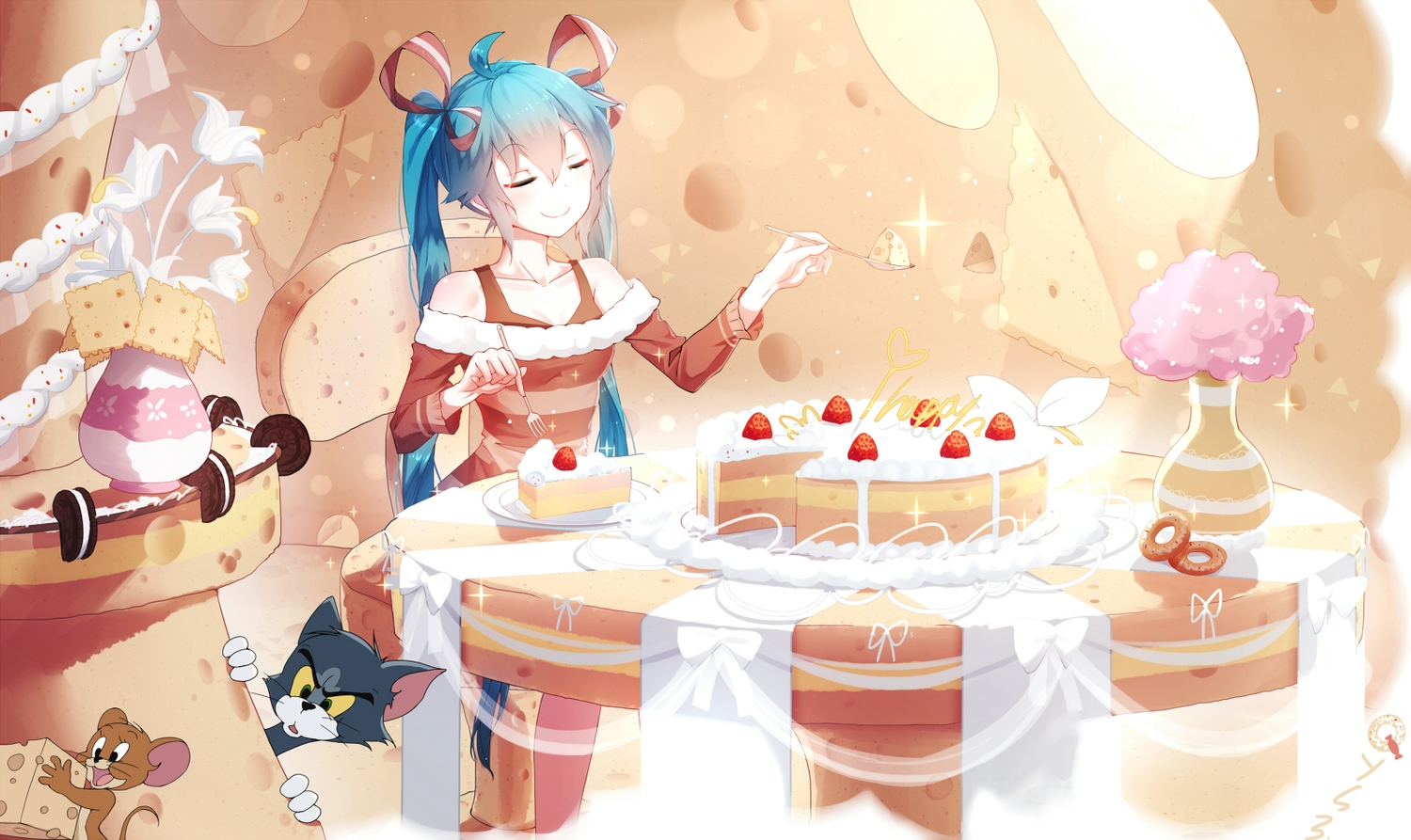 animal aqua_hair bai_yemeng cake cat cherry crossover flowers food fruit hatsune_miku jerry_(tom_and_jerry) long_hair mouse ribbons tom_and_jerry tom_(tom_and_jerry) twintails vocaloid