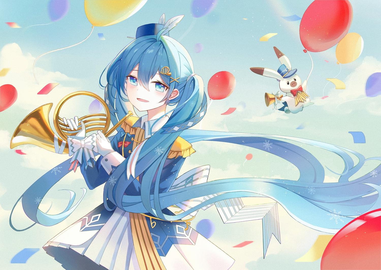 animal aqua_eyes aqua_hair clouds gloves hatsune_miku instrument iren_lovel long_hair rabbit sky twintails uniform vocaloid yuki_miku yukine_(vocaloid)