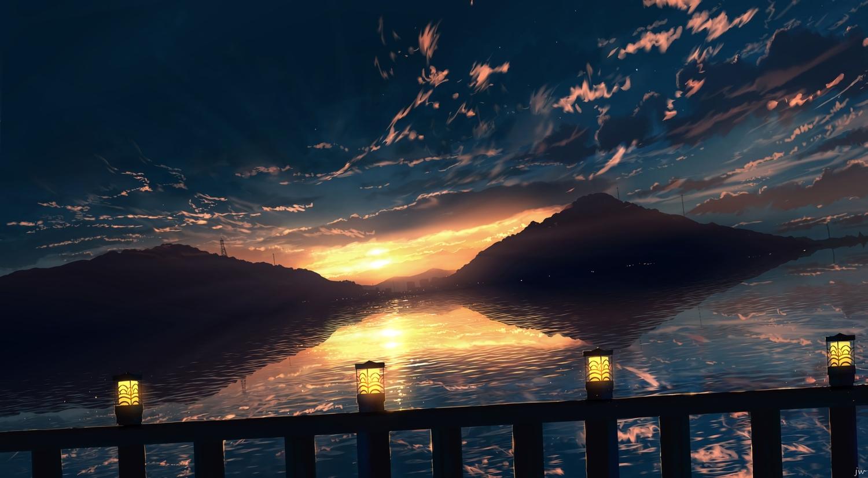 clouds landscape nobody original scenic signed sky skyrick9413 sunset water