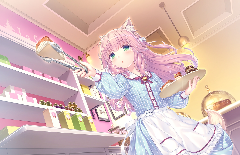 animal_ears apron blush cake catgirl food fraise_(sayori) game_cg green_eyes long_hair nekopara neko_works pink_hair sayori tail waitress