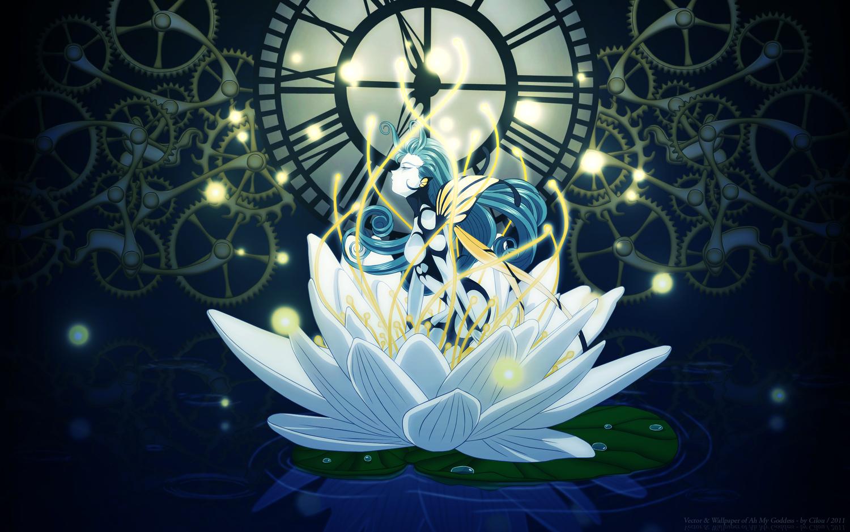 aa_megami-sama blue blue_hair flowers long_hair morgan_le_fay vector water wings