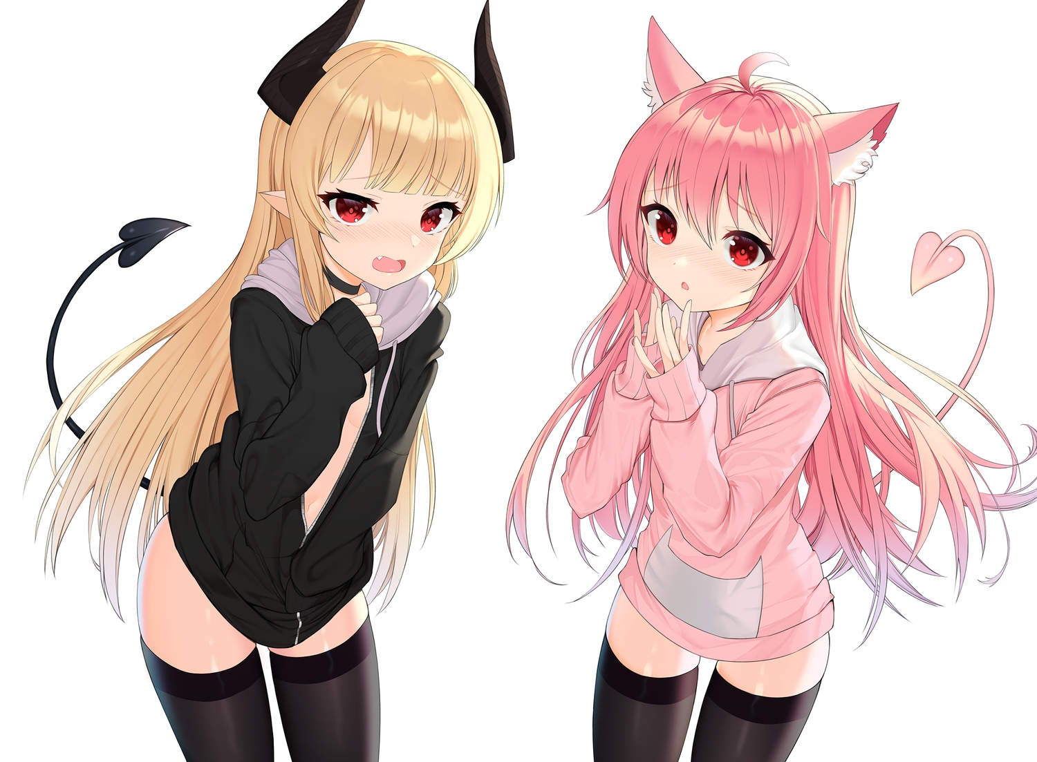 animal_ears blonde_hair catgirl choker demon fang flat_chest hoodie horns long_hair no_bra original pink_hair pointed_ears red_eyes tail thighhighs tttanggvl white zettai_ryouiki