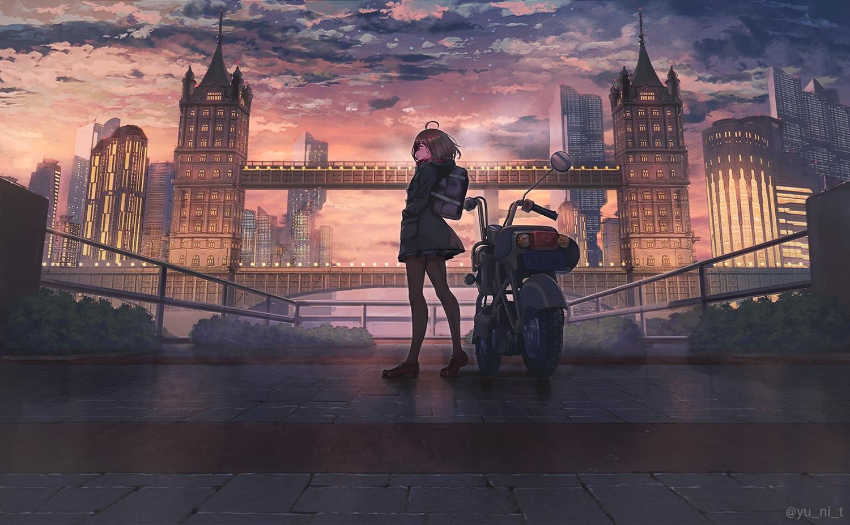 brown_hair building city clouds hoodie motorcycle original pantyhose scenic skirt sky sunset watermark yu_ni_t
