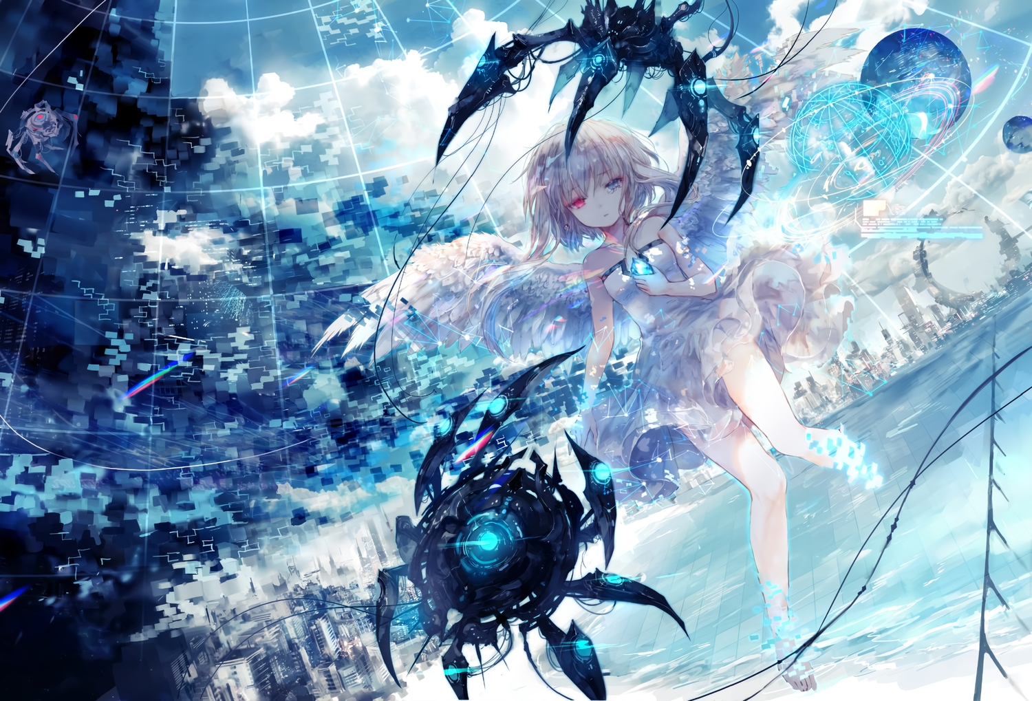 barefoot bicolored_eyes building city clouds dress onineko original robot sky water white_hair wings