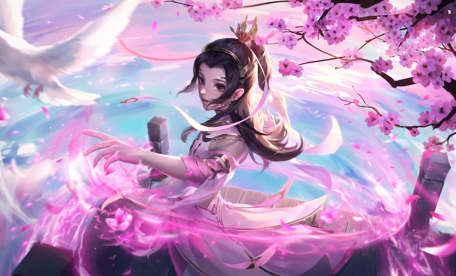 all_male alov animal bird cherry_blossoms chinese_clothes flowers male water