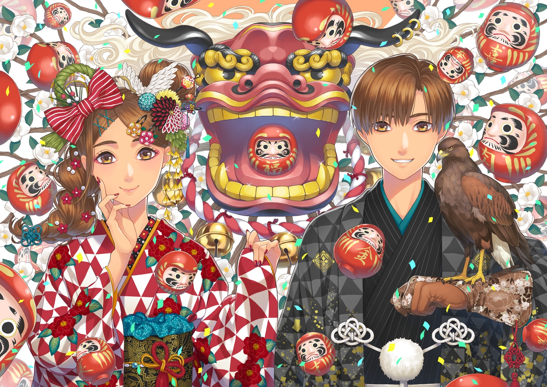 animal bell bird braids brown_eyes brown_hair doll flowers gloves japanese_clothes kimono long_hair male minami_(minami373916) original ponytail short_hair