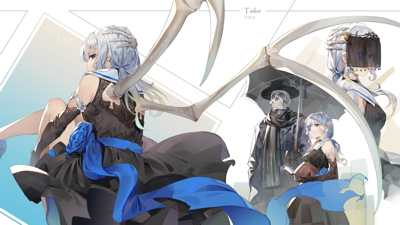 blue_eyes book dress gothic gray_hair ji_dao_ji long_hair original skull twintails umbrella wings