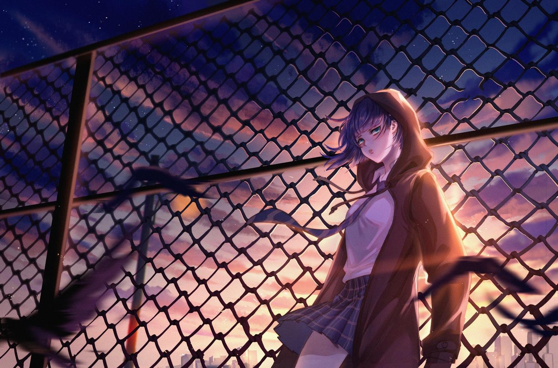 animal aqua_eyes bird blue_hair clouds darling_in_the_franxx hoodie ichigo_(darling_in_the_franxx) school_uniform short_hair skirt sky tagme_(artist) tie