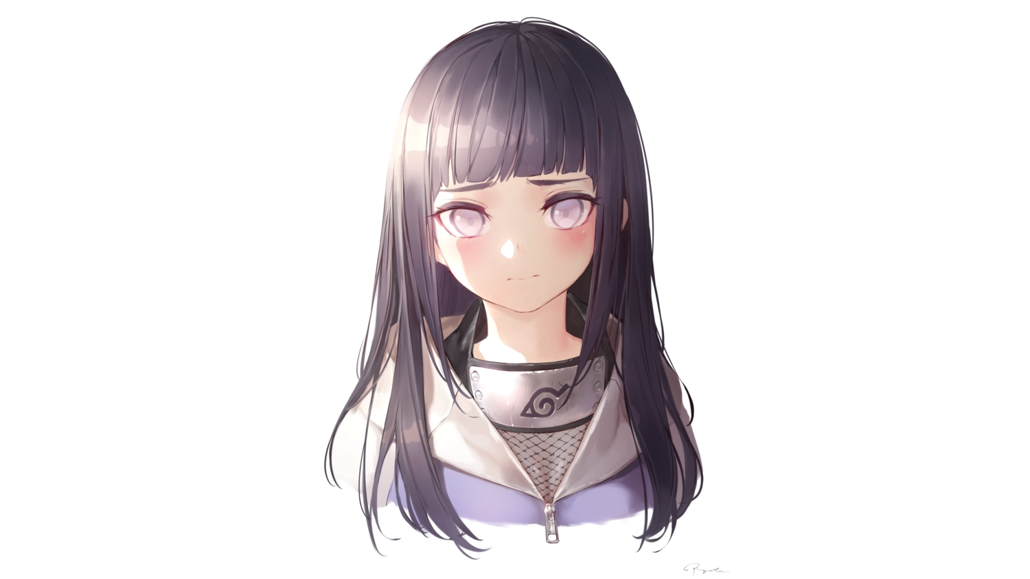 black_hair headband hyuuga_hinata long_hair naruto naruto_shippuden ninja purple_eyes ryota_(ry_o_ta) signed white