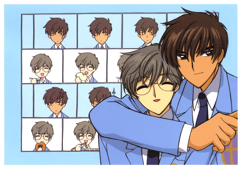 all_male black_hair brown_hair card_captor_sakura clamp glasses male scan school_uniform short_hair tie